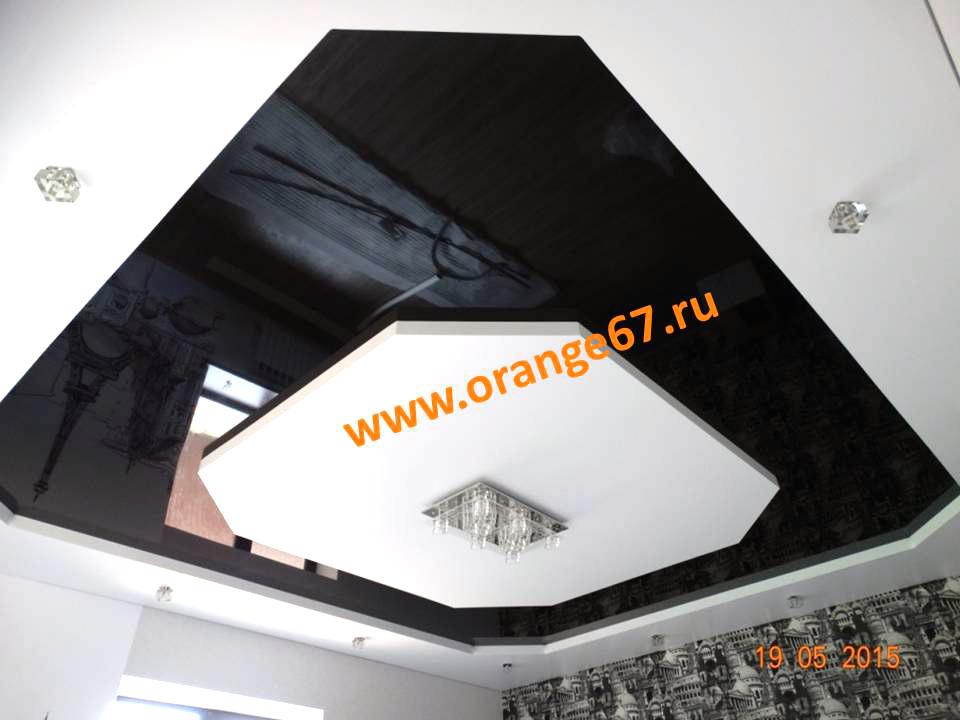 Черный двухуровневый натяжной потолок
